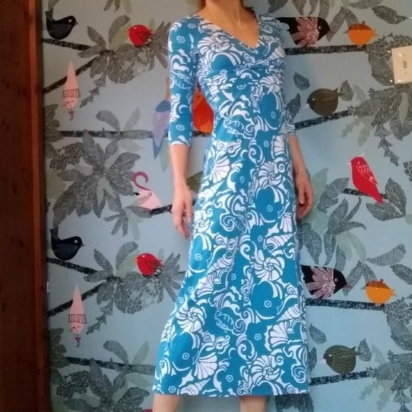 NEW Lilly Pulitzer GLORIA EMPIRE WAIST MAXI DRESS Ariel Blue Tide Pools White S